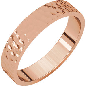 14K Rose 4mm Flat Band with Hammer Finish Size 6.5