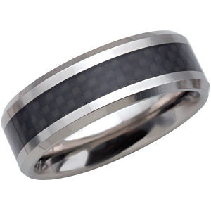 Tungsten 8mm Beveled Band with Black Carbon Fiber Center Size 12.5