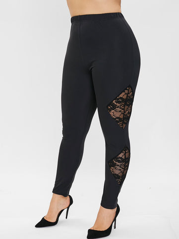 Plus Size Floral Embroidered Lace Panel Leggings - Black - 1X