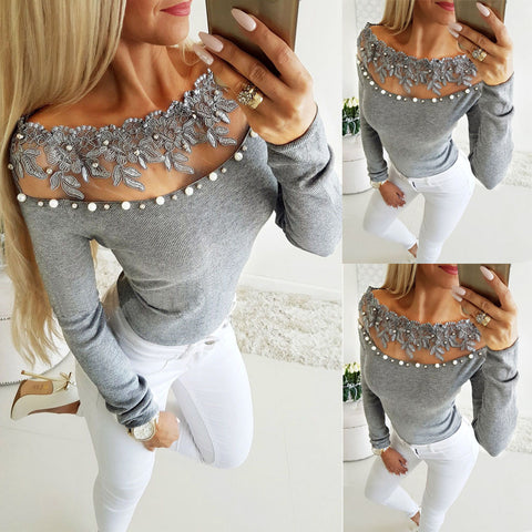 Sexy Women Fashion Blouse Casual Loose Long Sleeve