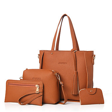 Solid Colored 4 Piece Bag Set