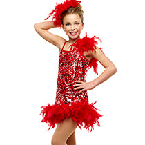 E197 Ruffled Rumba (red & pink available) - Jazz, Tap & Hip Hop, Online Dance Costumes