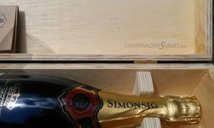 Champagnesabel Laguiole in luxe kist met fles Simonsig Kaapse Vonkel - Champagnesabres.eu - Champagnesabel