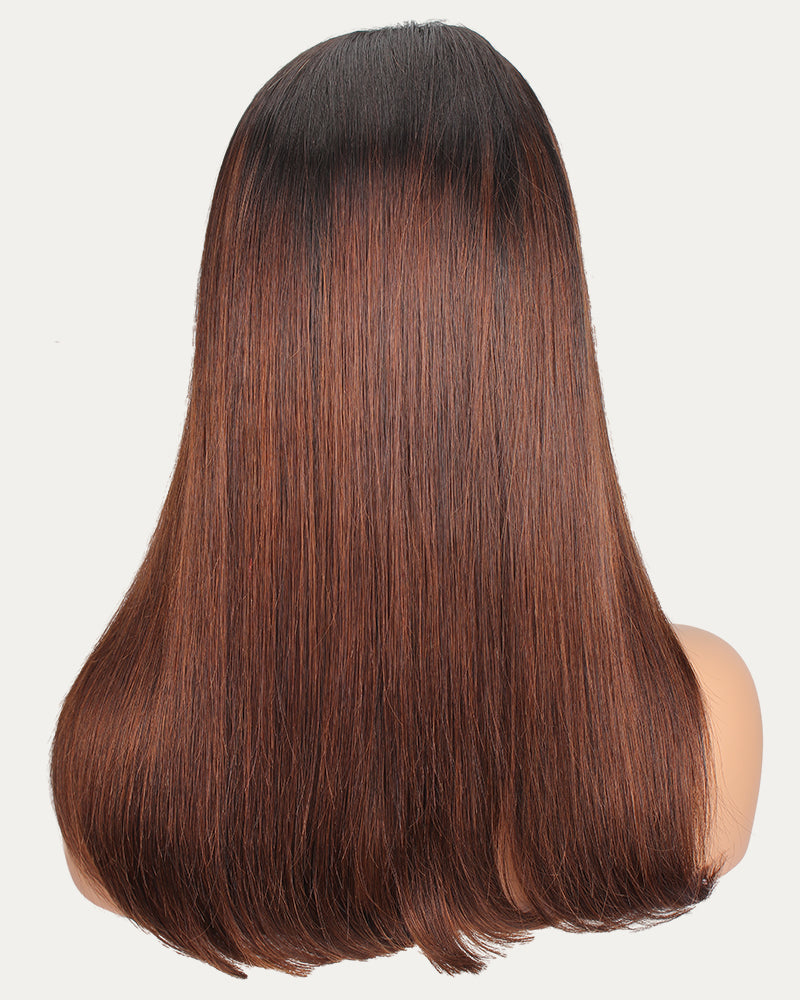 Amber Long Ombre Straight Bob Wig Kim-K Looking