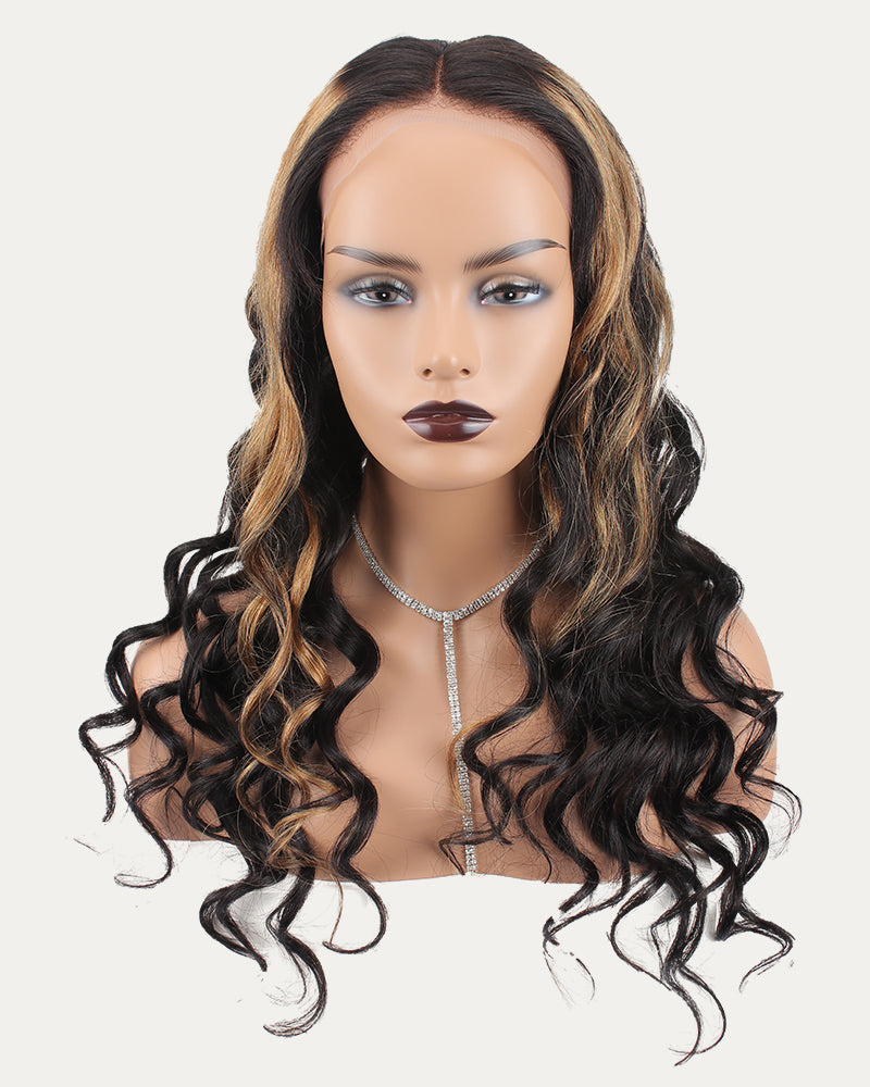 Coral Ombre Color Pre-Plucked Hair line Long Natural Wave Lace Wig