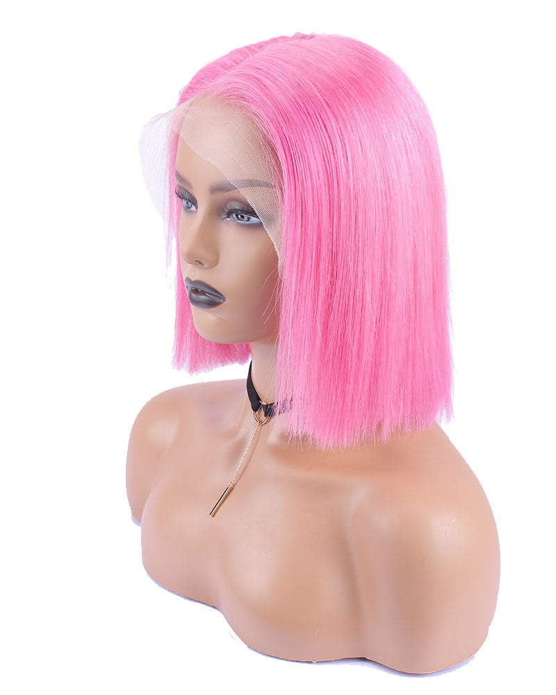 Diana Scarlet Pink Short Straight Bob Selected Virgin Human Hair Lace Front Bob Wig