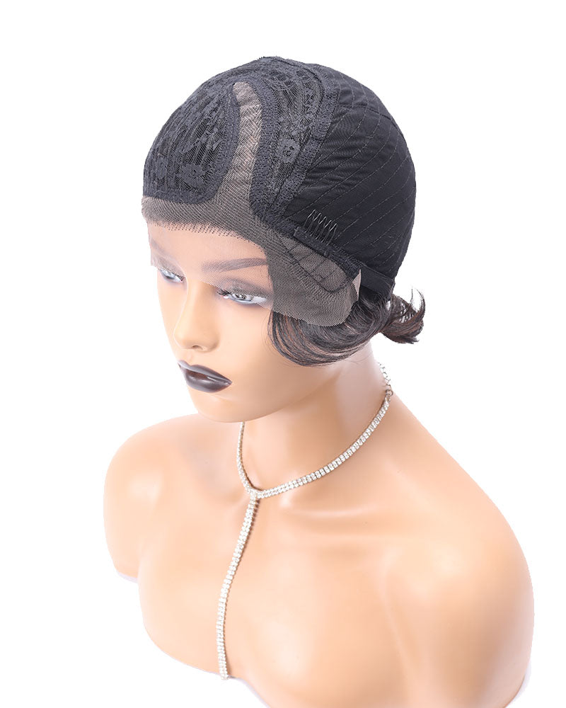 Freda pixie curly cut human hair lace wig