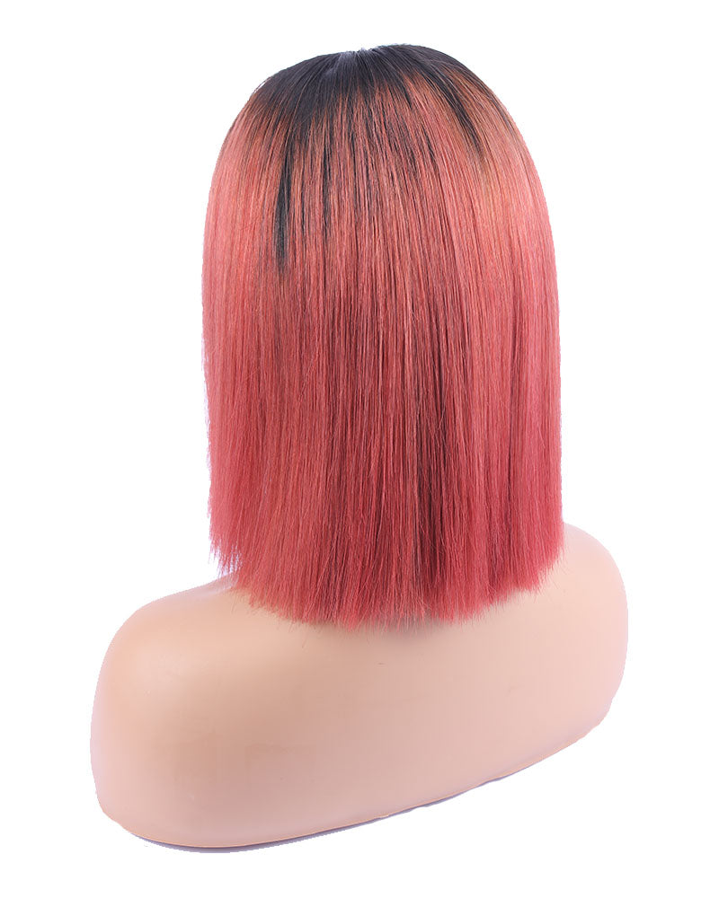 Gita Champagne Red  Lace Bob Front Wig Selected Virgin Human Hair
