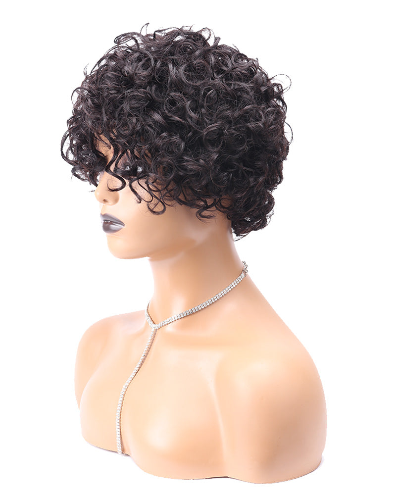 Halona short water curly human hair wig
