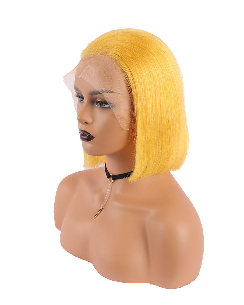 Kenda Vibrant Yellow Lace Selected Virgin Human Hair Lace Front Bob Wigs