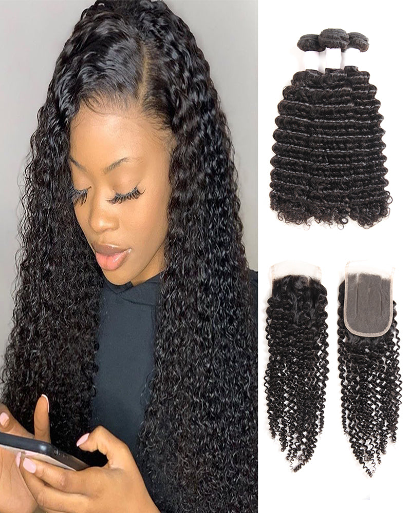 Meralona Hair Brazilian Afro Kinky Virgin Hair 3 Bundles With Lace Closure