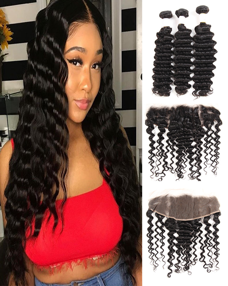 Meralona Hair Brazilian  Deep Wave Virgin Hair 3 Bundles With Lace Frontal