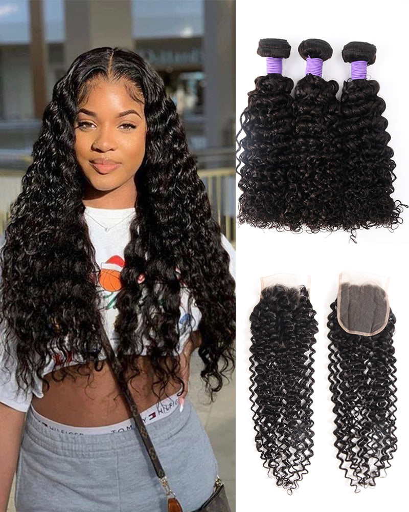 Meralona Hair Brazilian  Jerry Curly Virgin Hair 3 Bundles With Lace Closure