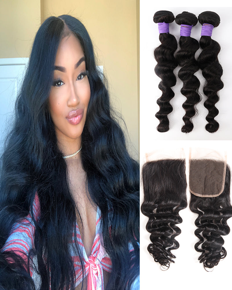 Meralona Hair Brazilian Loose Wave Virgin Hair 3 Bundles With Lace Closure