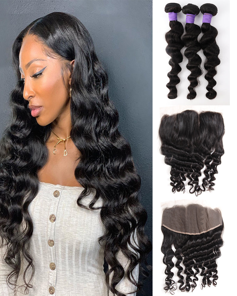 Meralona Hair Brazilian Loose Wave Virgin Hair 3 Bundles With Lace Frontal