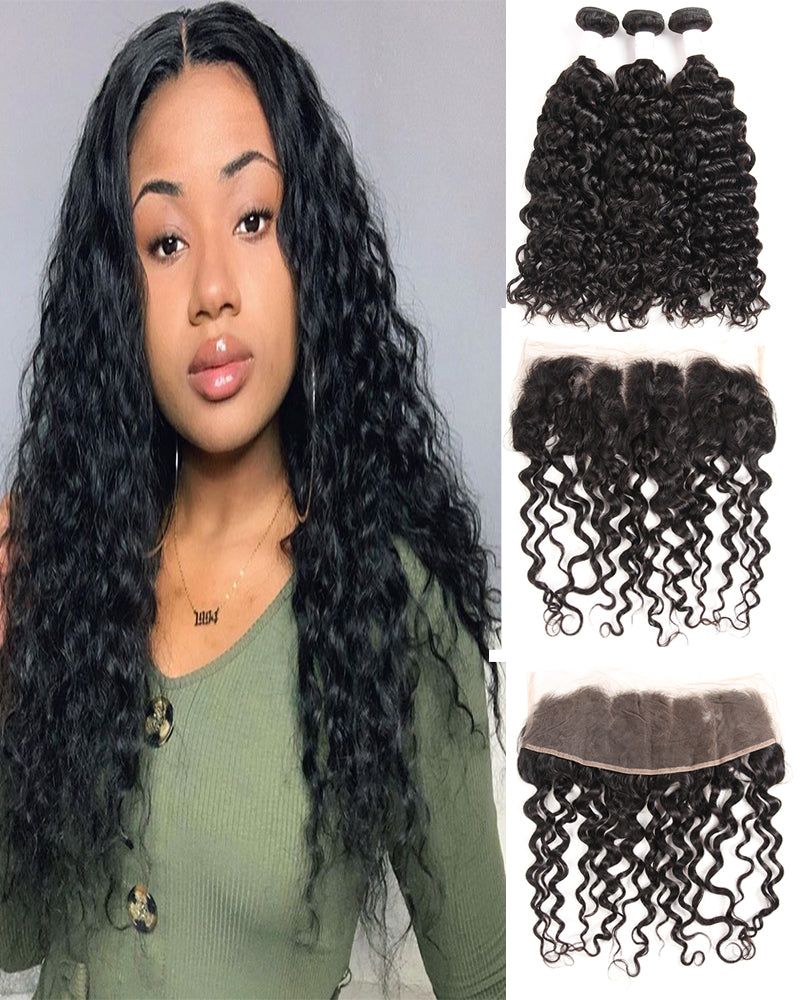Meralona Hair Brazilian Natural Wave Virgin Hair 3 Bundles With Lace Frontal