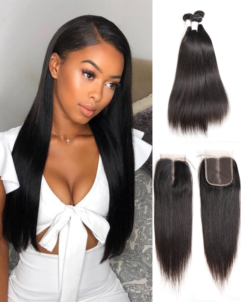 Meralona Hair Brazilian Stw Virgin Hair 3 Bundles With Lace Closure