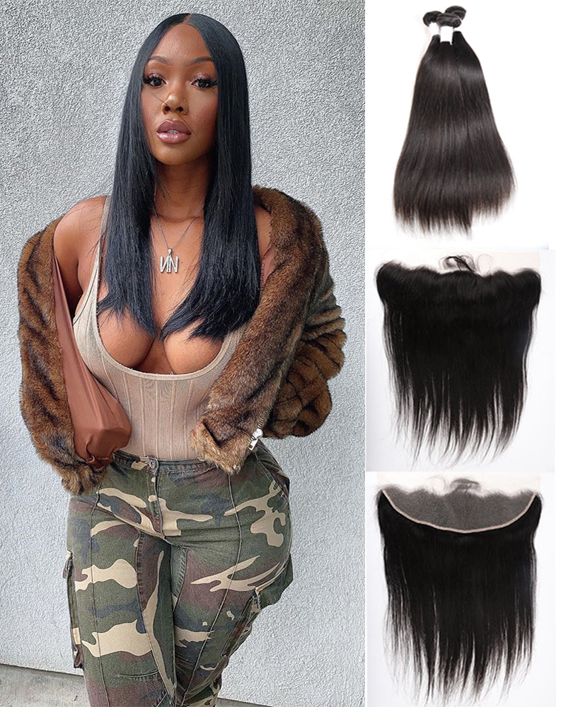 Meralona Hair Brazilian Stw Virgin Hair 3 Bundles With Lace  Frontal