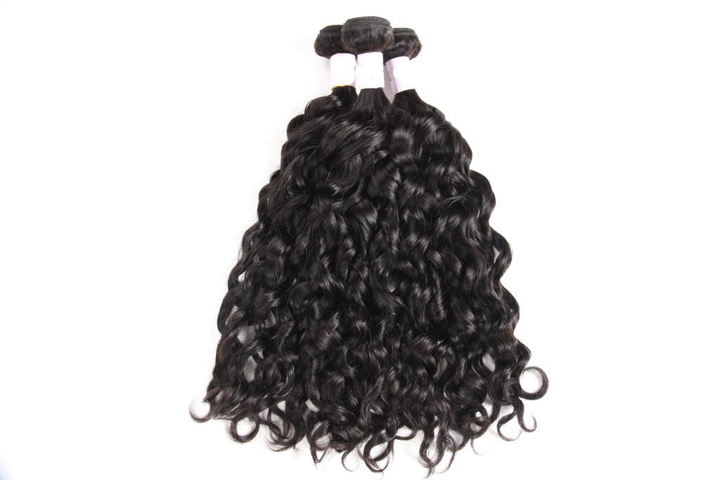 Meralona Hair Brazilian Water Wave Virgin Hair 3 Bundles With Lace Frontal
