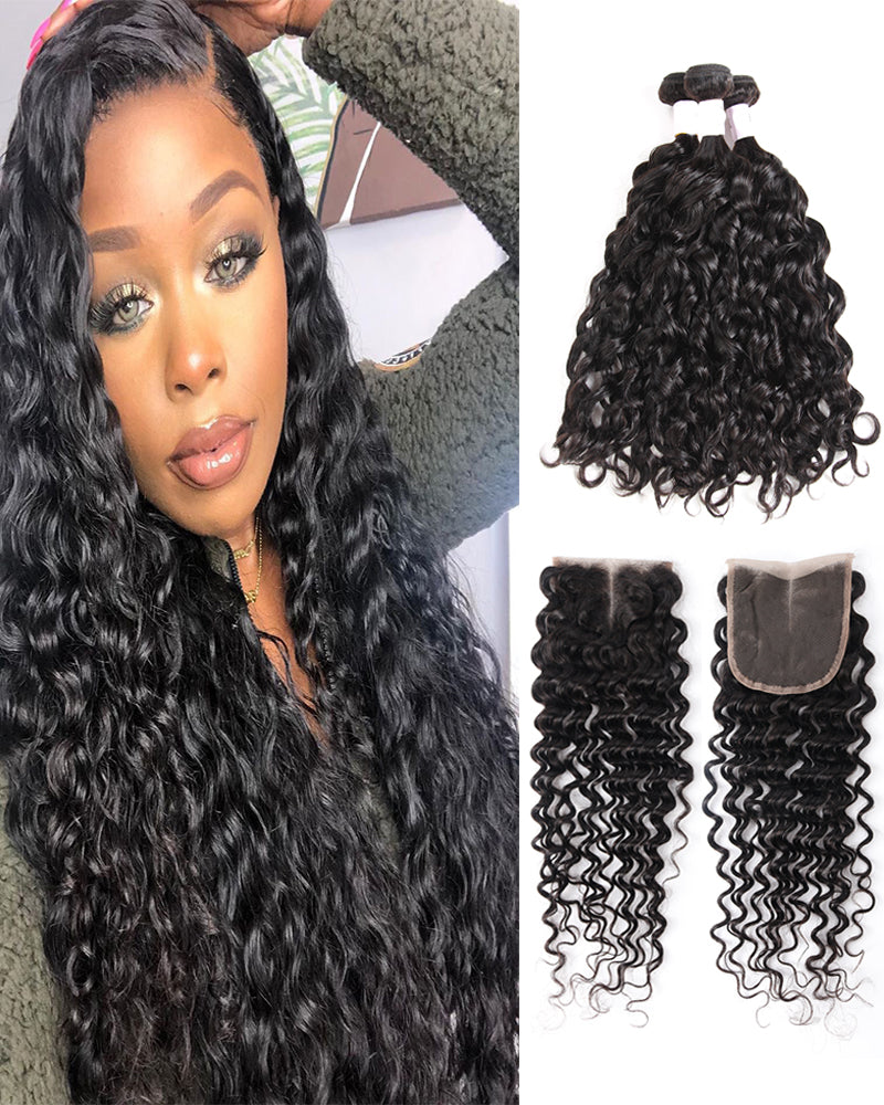 Meralona Hair Brazilian Water Wave Virgin Hair 3 Bundles With Lace Closure