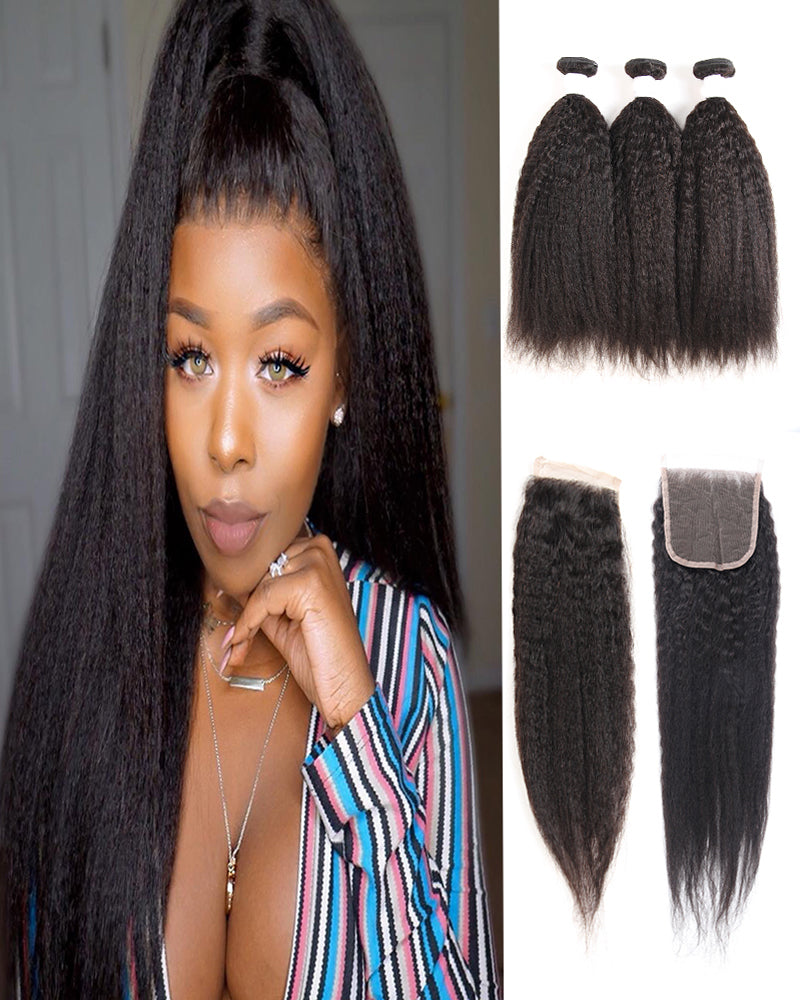 Meralona Hair Brazilian Yaki Straight Virgin Hair 3 Bundles With Lace Closure