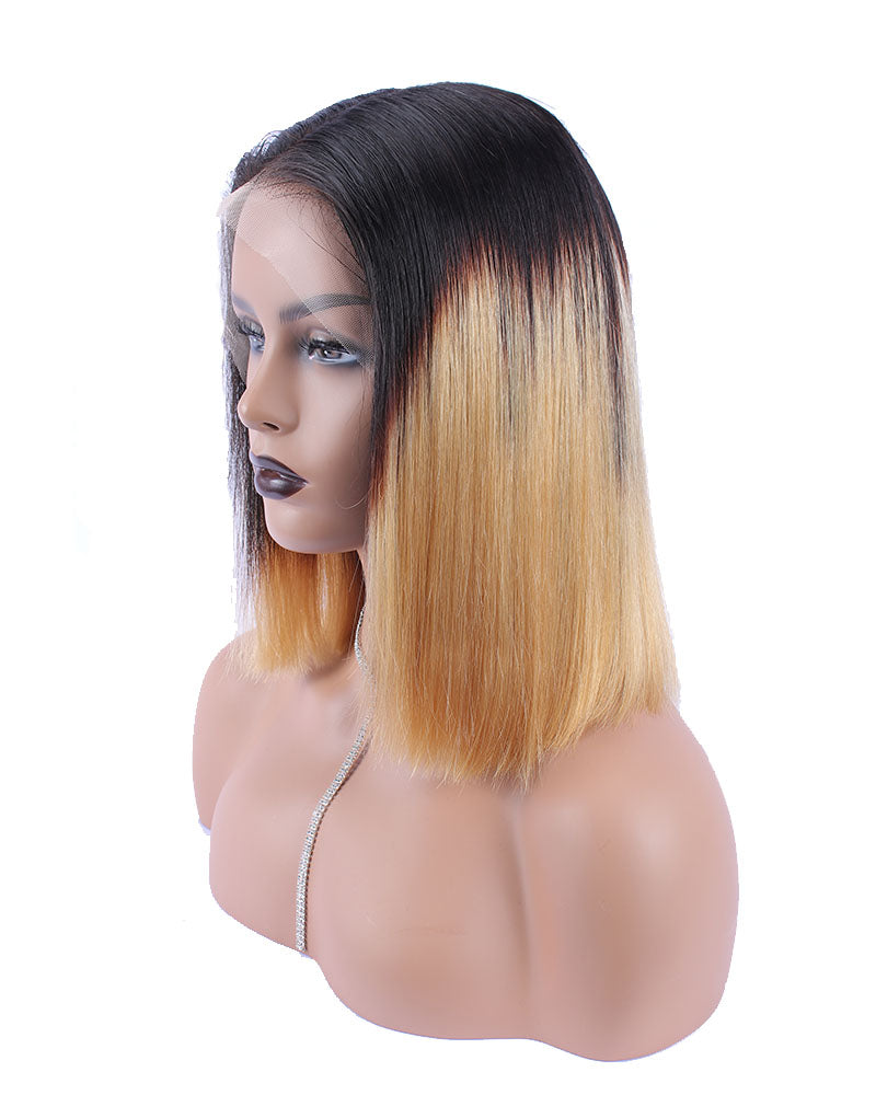 Shams Ombre Color Selected Virgin Human Hair Lace Frontal Bob Wig