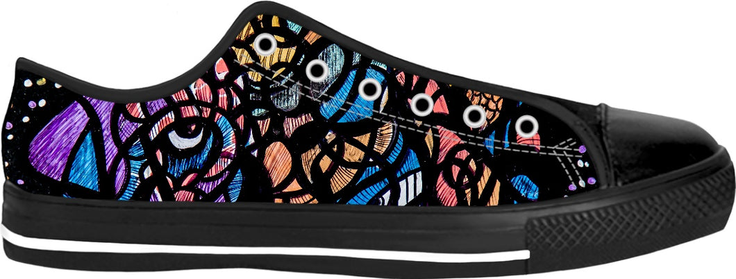 Cosmic Builder: Black Toe Canvas Low Top Sneakers