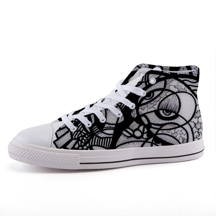Flight of the Soul: High-top fashion canvas sneakers