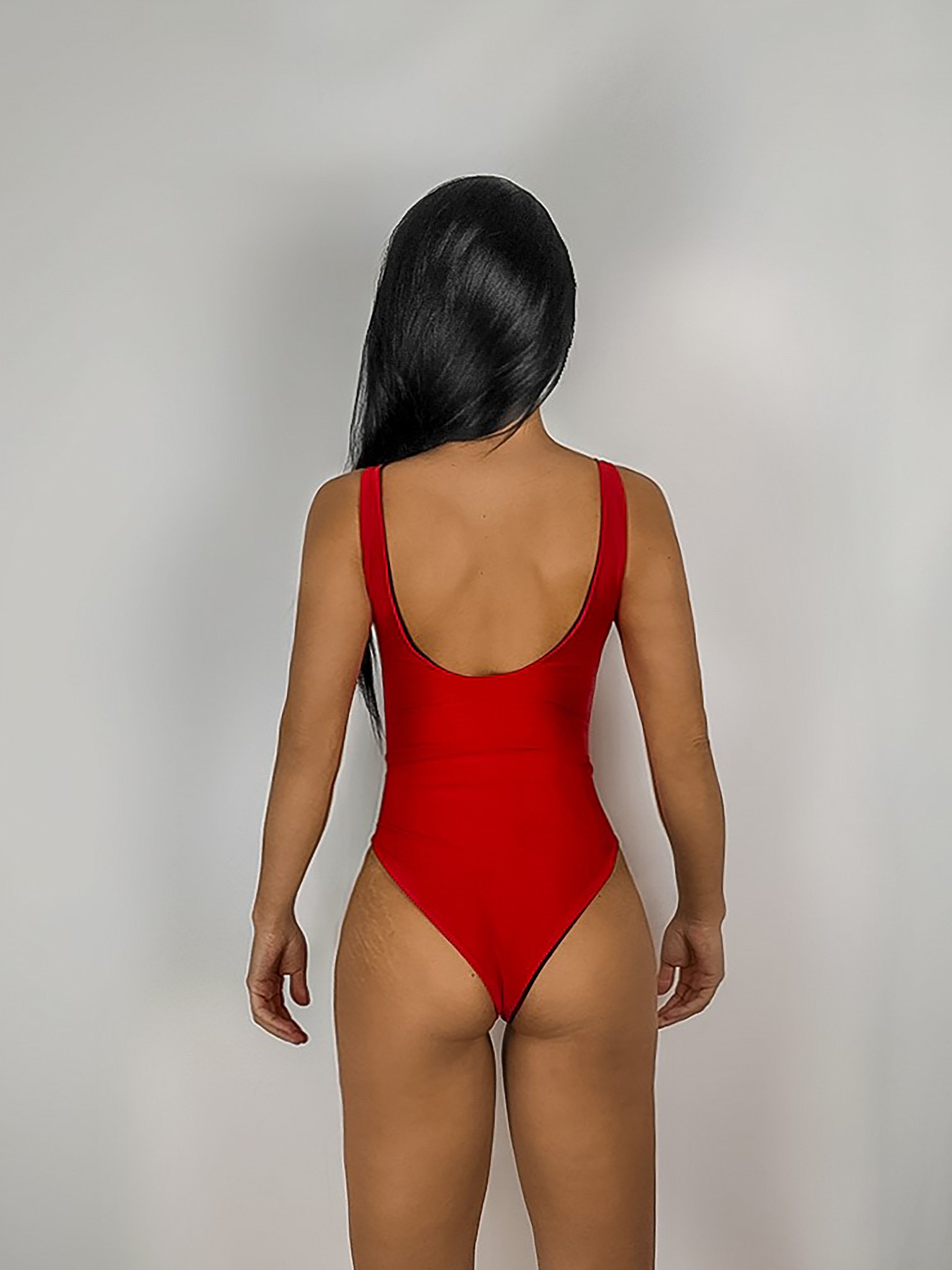 Red Low Back Swimsuit