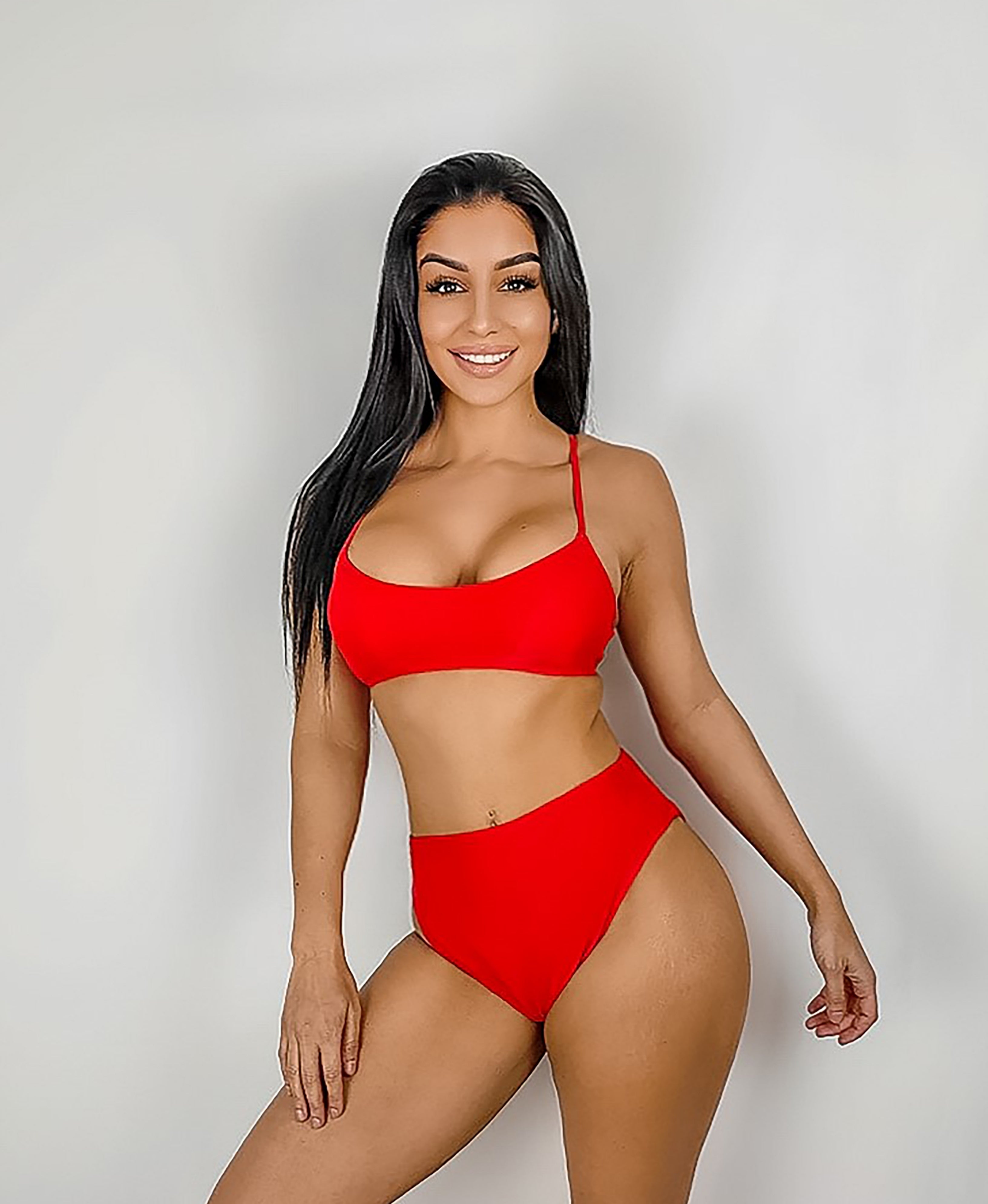 Red High Waisted Bikini Set