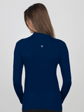 navy blue signature shirt rear view with venting