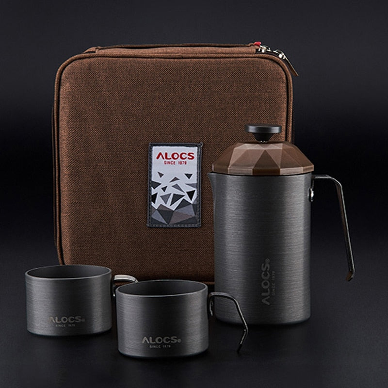 Outdoor travel coffee pot, cups, French filter low press
