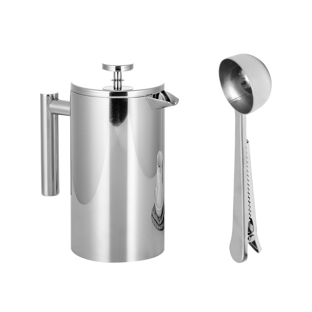 Stainless Steel French Press Coffee Tea Maker Double Wall Filter Baskets Cafetiere Coffee Pot