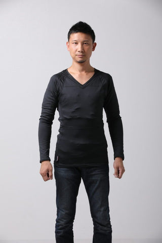 Men's V-Neck Long Sleeve Heat Layer in Black or White Color