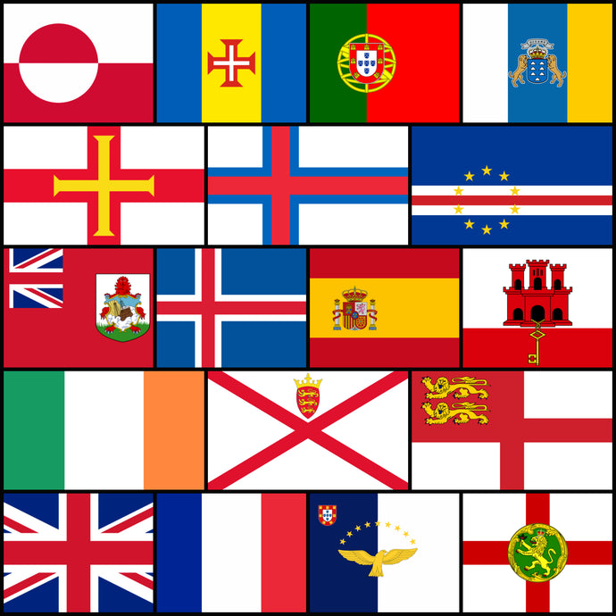 Courtesy Flags set - Western Europe & North Atlantic Islands