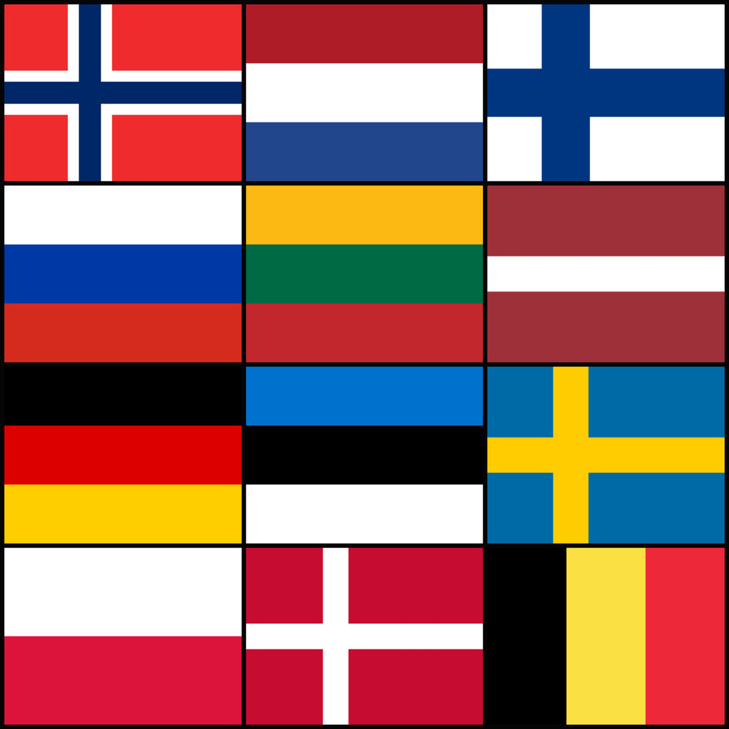 Courtesy Flags set - Northern Europe