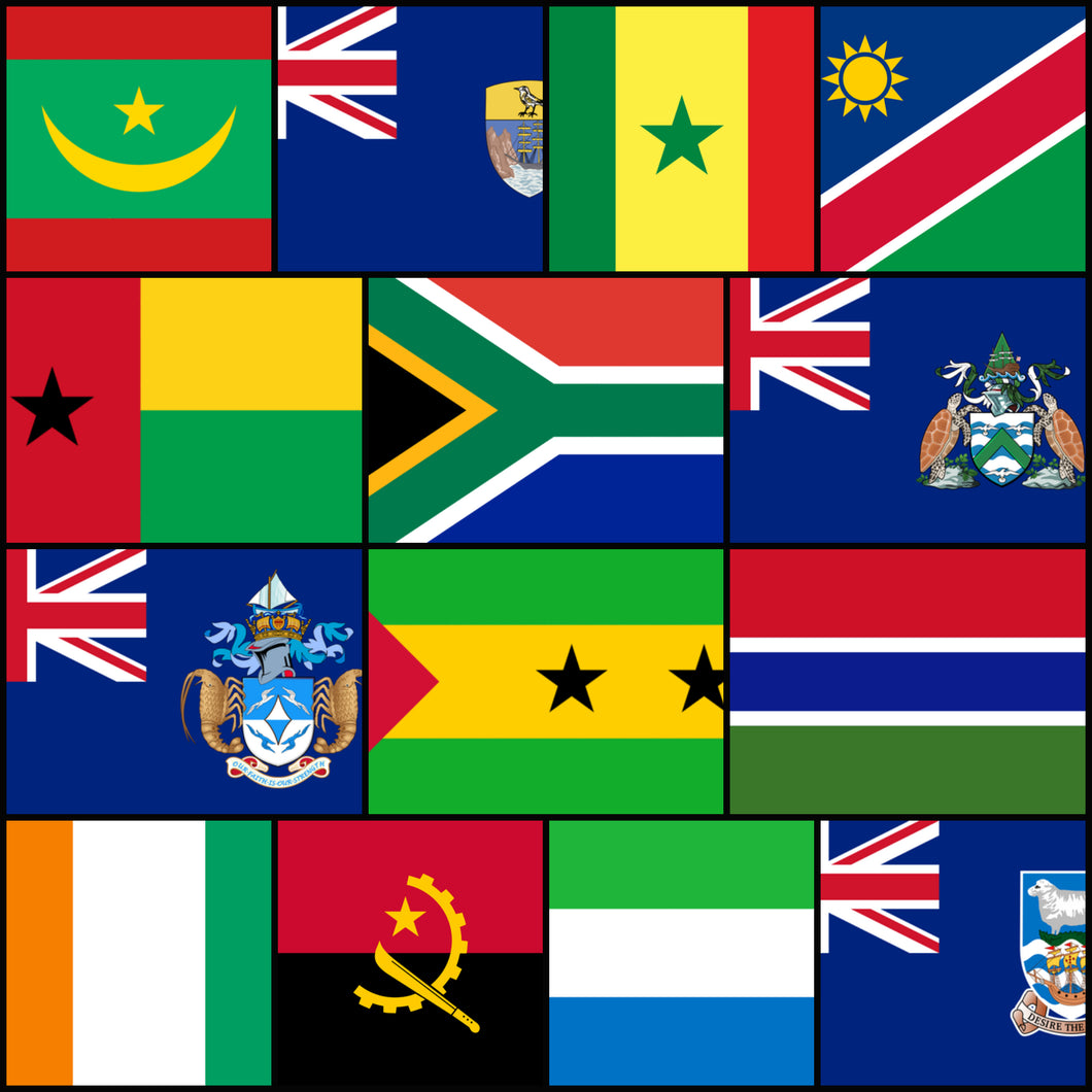 Courtesy Flags set - West Africa & South Atlantic Islands