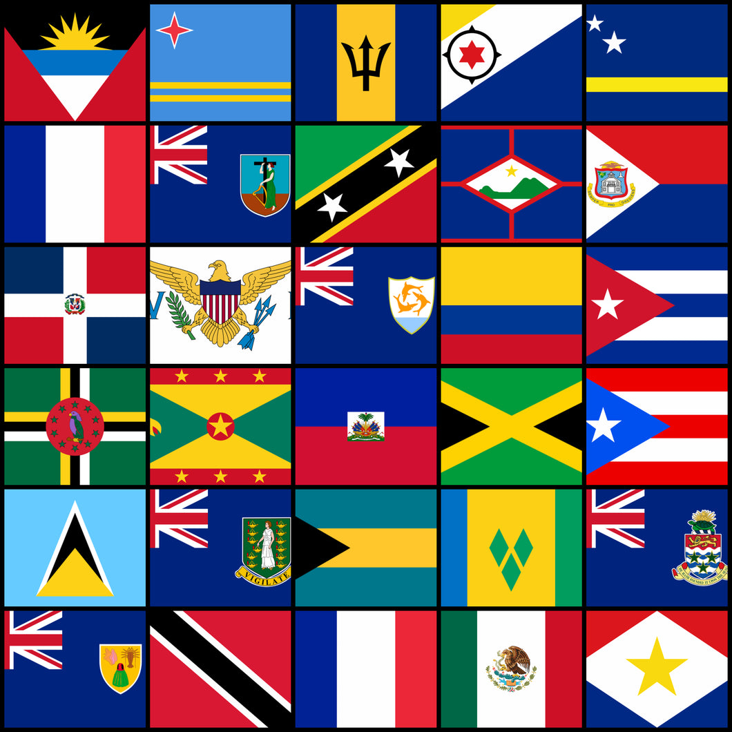 LAIVAA Courtesy Flags set - Caribbean countries