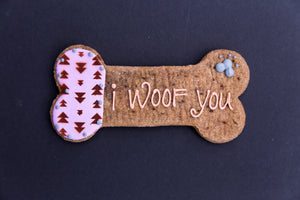 7 inch hand decorated I woof you peanut butter biscuit for dogs