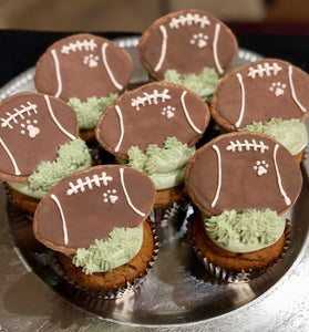 All natural football themed dog cupcakes pupcakes birthday football season