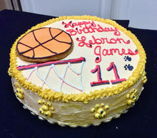 Load image into Gallery viewer, Round Basketball Themed Dog Birthday Cake