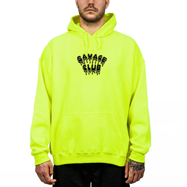 FLUO GREEN HOODIE SAVAGE CLUB LEAK LOGO