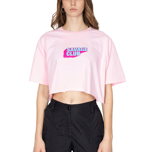 LIGHT PINK SAVAGE CLUB LOGO CROP TOP - PREMIUM COTTON -