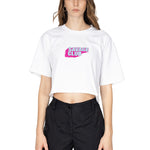 WHITE SAVAGE CLUB LOGO CROP TOP  - PREMIUM COTTON -