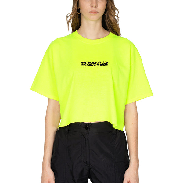 FLUO GREEN SAVAGE CLUB LOGO CROP TOP