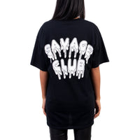 SAVAGE CLUB BLACK T-SHIRT WHITE LEAK LOGO