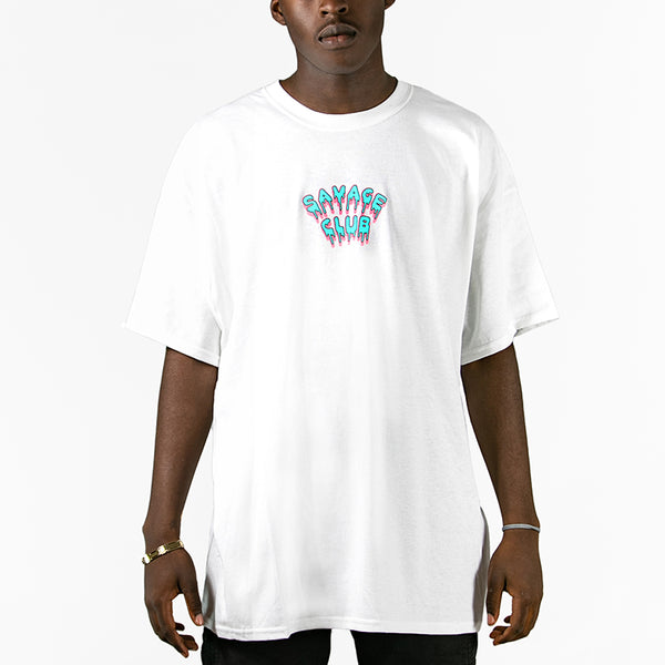 SAVAGE CLUB  WHITE T-SHIRT LEAK LOGO