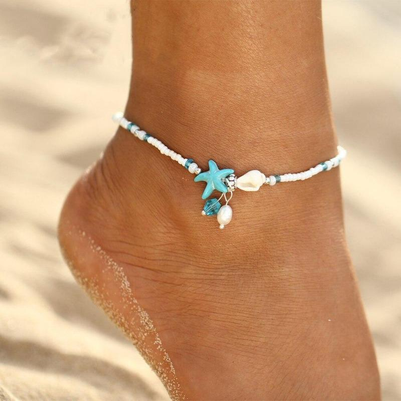 Anklets Turquoise Ocean Themed Shell Anklet Silver / Adjustable