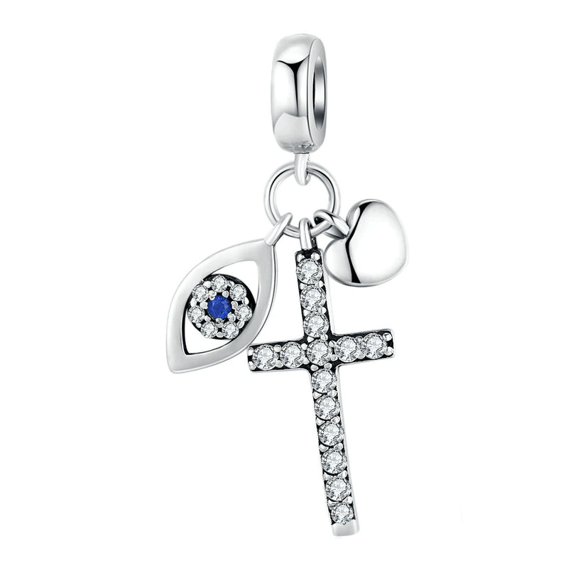 Charms Evil Eye And Cross Charm Silver