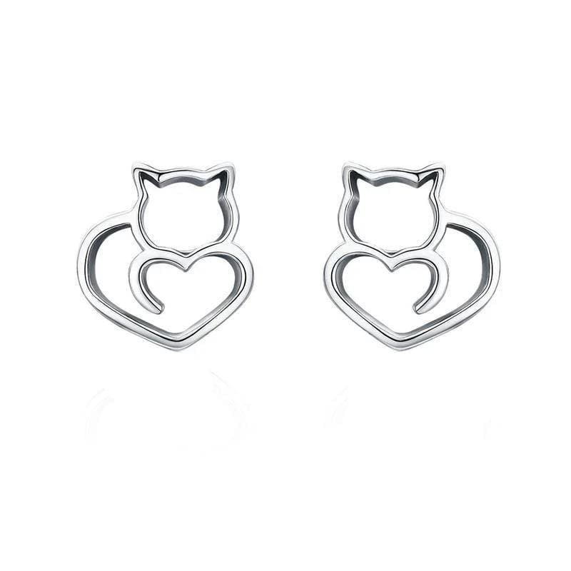 Earrings Classy Cat Heart Stud Earrings Silver